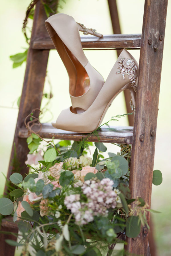 Bride's Heals on Rustic Ladder | 59&Bluebell Weddings and Events