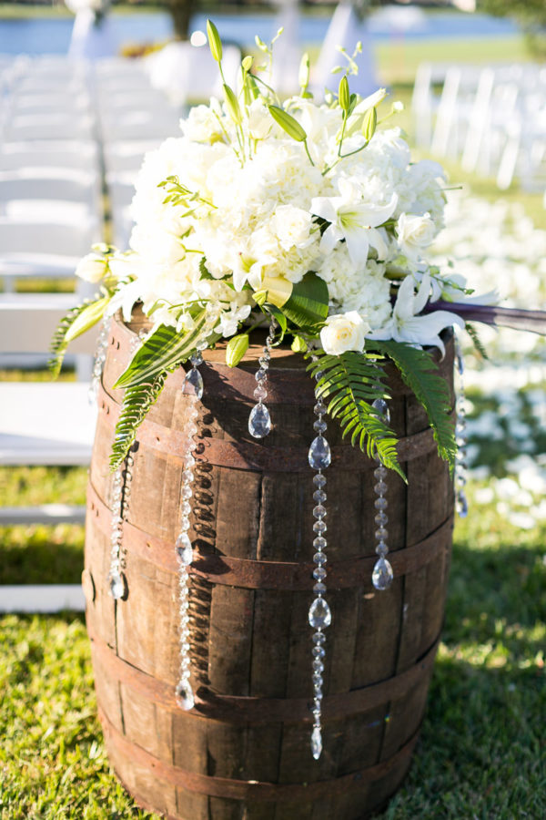 Bouquet of Flowers on a Barrel | 59&Bluebell Weddings and Events