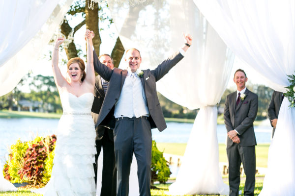New Husband and Wife Throw Their Hands in the Air | 59&Bluebell Weddings and Events