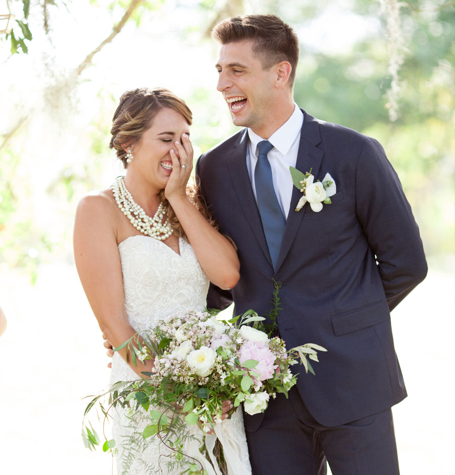 Close-Up Bride and Groom Laughing at Wedding Ceremony | 59&Bluebell Weddings and Events