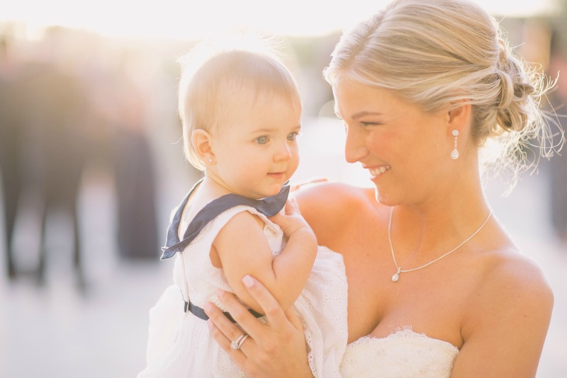4bdfc1c17b3 Newly Married Bride Caring Her Baby Flower Girl