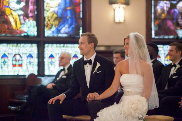 Groom and Bride Sitting Together in Chapel | 59&Bluebell Weddings and Events