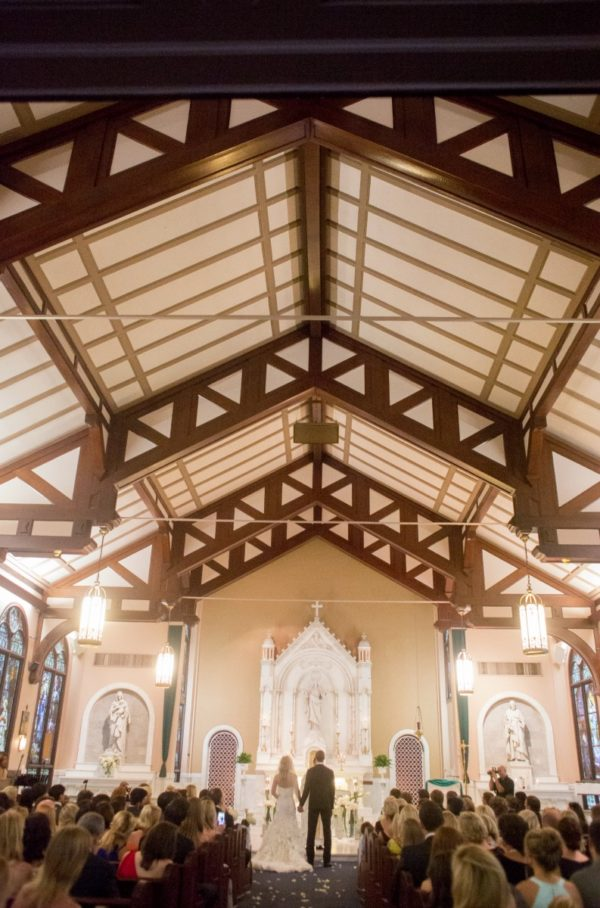 Groom and bride Holding Hands in Chapel | 59&Bluebell Weddings and Events