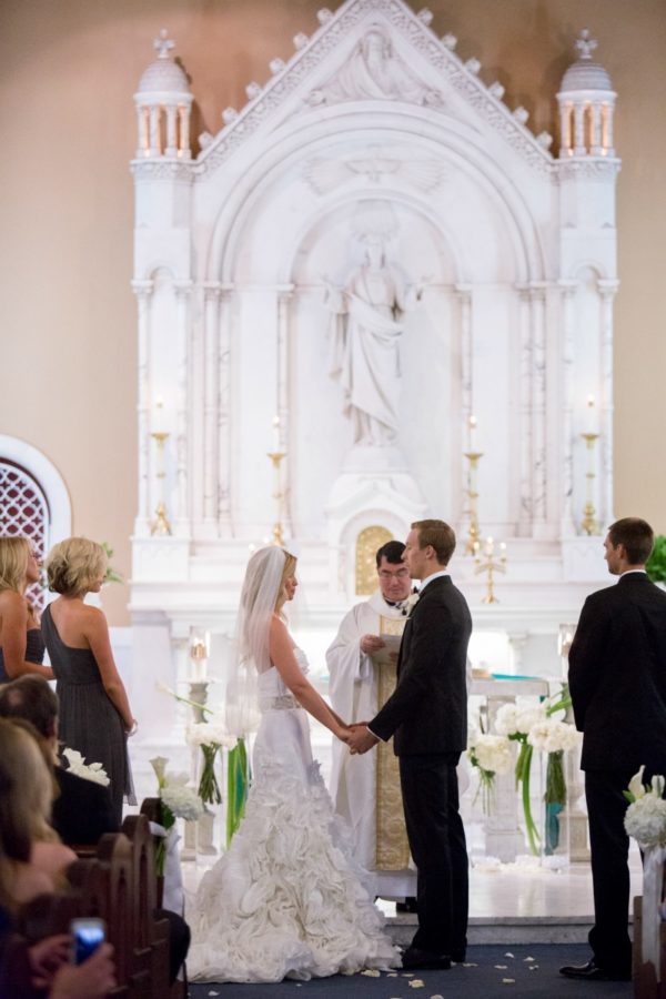 Groom and Bride Holding Hands During Wedding Vows | 59&Bluebell Weddings and Events