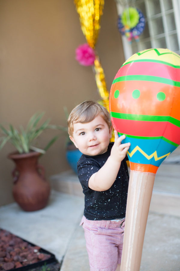 Baby Boy Holding Maraca balloon Birthday Party | 59&Bluebell Weddings and Events