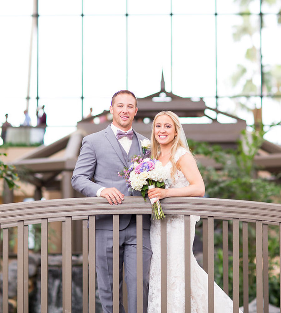 Bride and Groom on Bridge | 59&Bluebell Weddings and Event