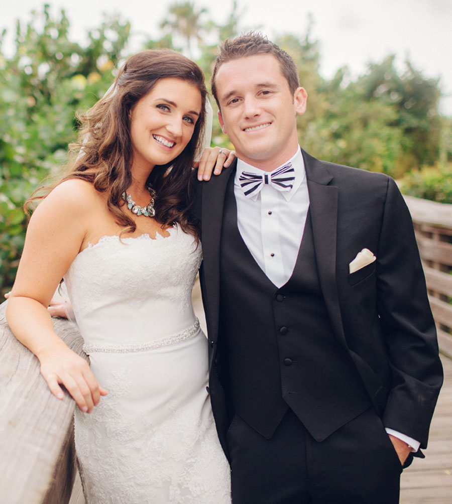 Bride and Groom Smiling on Bridge | 59&Bluebell Weddings and Event